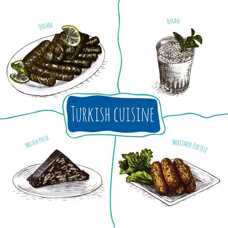 Menu of Turkey colorful illustration. Vector illustration of Turkish cuisine. Vetores