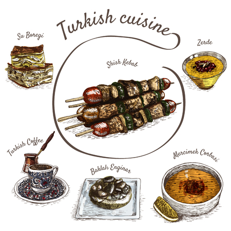 Menu of Turkey colorful illustration. Vector illustration of turkish cuisine. 矢量图像