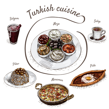 mediterranean culture: Menu of Turkey colorful illustration. Vector illustration of turkish cuisine. Illustration