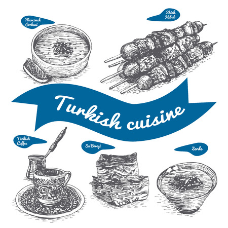 turkish dessert: Monochrome vector illustration of Turkish cuisine and cooking traditions