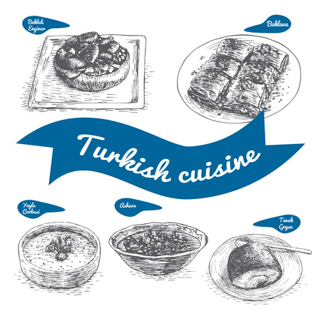 Monochrome vector illustration of Turkish cuisine and cooking traditions Stok Fotoğraf - 67909682