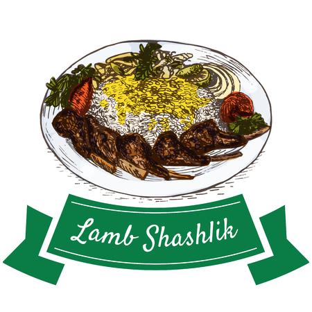specialities: Lamb Shashlik colorful illustration. Vector illustration of Persian cuisine. Illustration