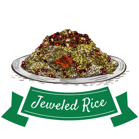 curry rice: Jeweled Rice colorful illustration. Vector illustration of Persian cuisine.