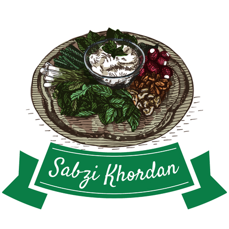 Sabzi Khordan colorful illustration. Vector illustration of Persian cuisine.