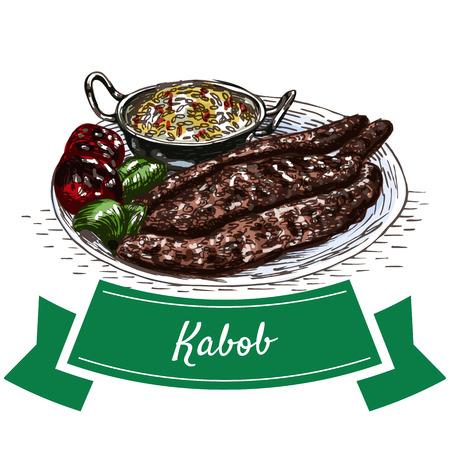 kabob: Kabob colorful illustration. Vector illustration of Persian cuisine. Illustration