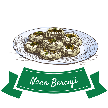 naan: Naan Berenji colorful illustration. Vector illustration of Persian cuisine.