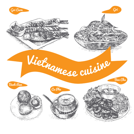 Monochrome vector illustration of Vietnamese cuisine and cooking traditions
