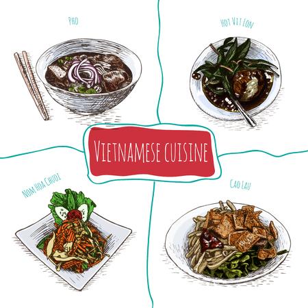 cao: Vietnamese menu colorful illustration. Vector illustration of Vietnamese cuisine.