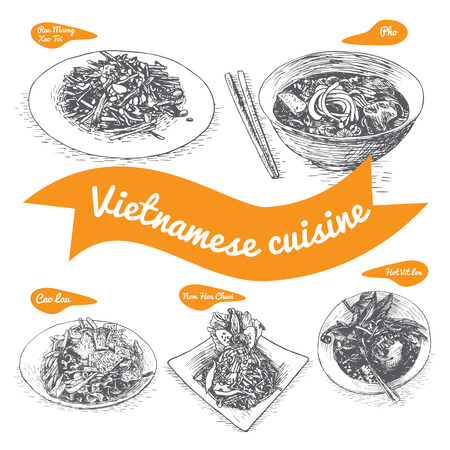 cao: Monochrome vector illustration of Vietnamese cuisine and cooking traditions