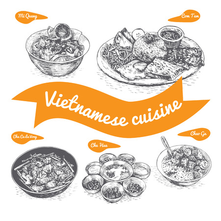 jasmine rice: Monochrome vector illustration of Vietnamese cuisine and cooking traditions