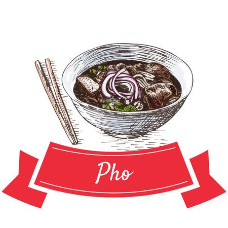 Pho kleurrijke illustratie. Vector illustratie van Vietnamese keuken.