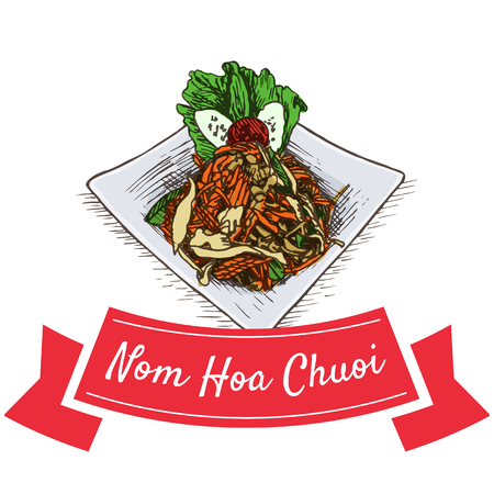 Nom Hoa Chuoi colorful illustration. Vector illustration of Vietnamese cuisine.