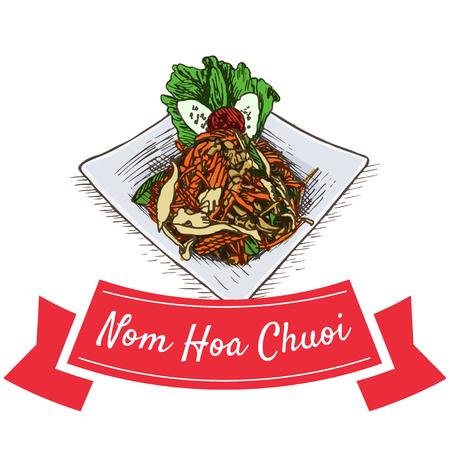 kale: Nom Hoa Chuoi colorful illustration. Vector illustration of Vietnamese cuisine.