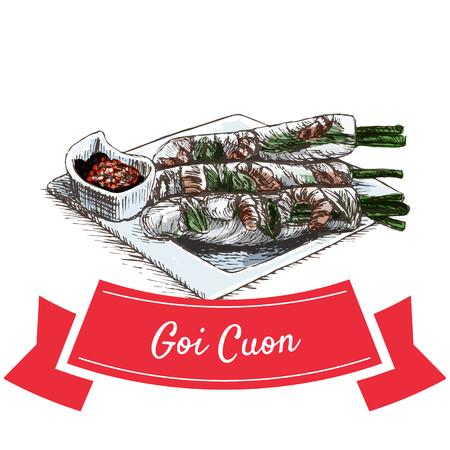 Goi Cuon colorful illustration. Vector illustration of Vietnamese cuisine. Illustration