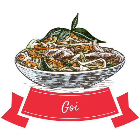 Goi colorful illustration. Vector illustration of Vietnamese cuisine.