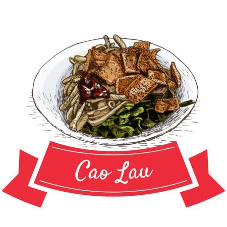 cao: Cao Lau colorful illustration. Vector illustration of Vietnamese cuisine. Illustration