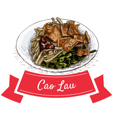 Cao Lau colorful illustration. Vector illustration of Vietnamese cuisine. Illustration