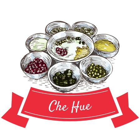 Che Hue colorful illustration. Vector illustration of Vietnamese cuisine.