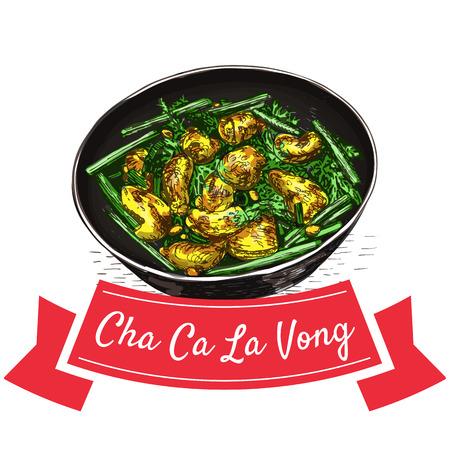 Cha Ca La Vong colorful illustration. Vector illustration of Vietnamese cuisine.