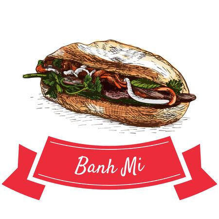 Banh Mi kleurrijke illustratie. Vectorillustratie van Vietnamese keuken.