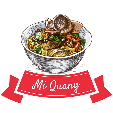 favorite soup: Mi Quang colorful illustration. Vector illustration of Vietnamese cuisine.