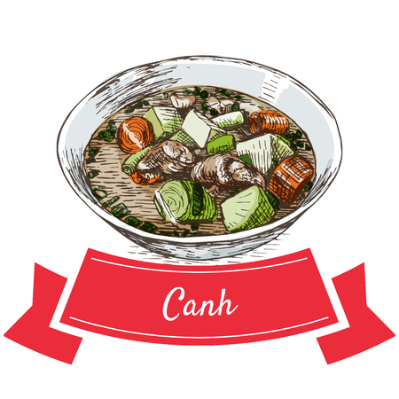 favorite soup: Canh colorful illustration. Vector illustration of Vietnamese cuisine.