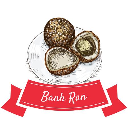 sesame: Banh Ran colorful illustration. Vector illustration of Vietnamese cuisine.