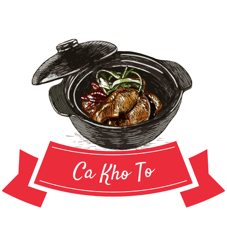 ca: Ca Kho To colorful illustration. Vector illustration of Vietnamese cuisine.
