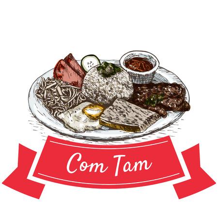 Com Tam colorful illustration. Vector illustration of Vietnamese cuisine.
