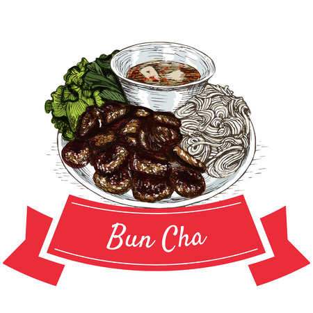 Bun Cha colorful illustration. Vector illustration of Vietnamese cuisine.