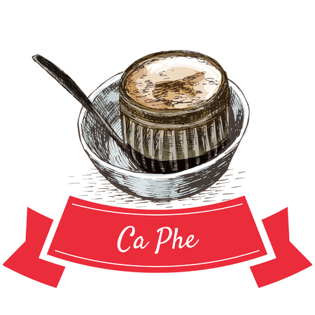 ca: Ca Phe colorful illustration. Vector illustration of Vietnamese cuisine.