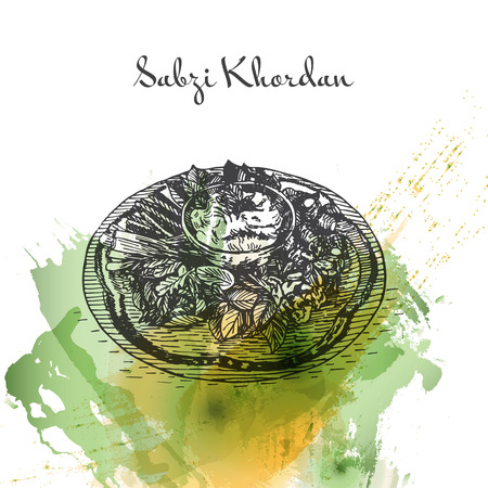 Sabzi Khordan watercolor effect illustration. Vector illustration of Persian cuisine.
