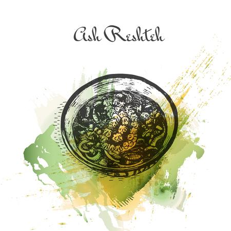 favorite soup: Ash Reshteh watercolor effect illustration. Vector illustration of Persian cuisine. Illustration
