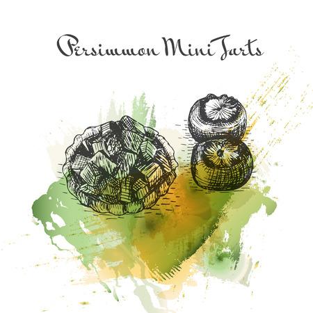 potluck: Persimmon Mini Tarts watercolor effect illustration. Vector illustration of Persian cuisine.