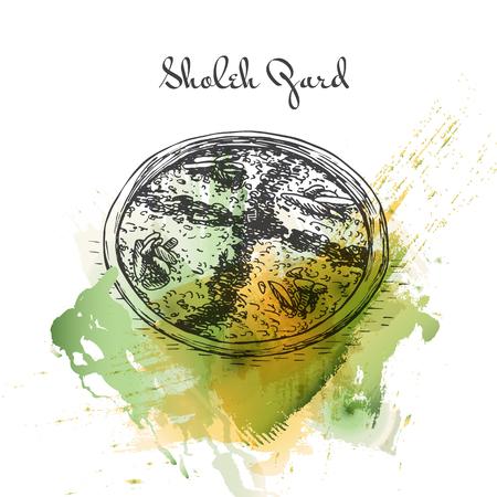 pistachios: Sholeh Zard watercolor effect illustration. Vector illustration of Persian cuisine.