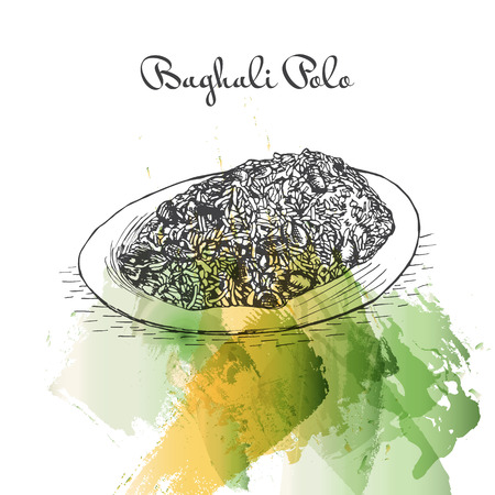 favorite soup: Baghali Polo watercolor effect illustration. Vector illustration of Persian cuisine.