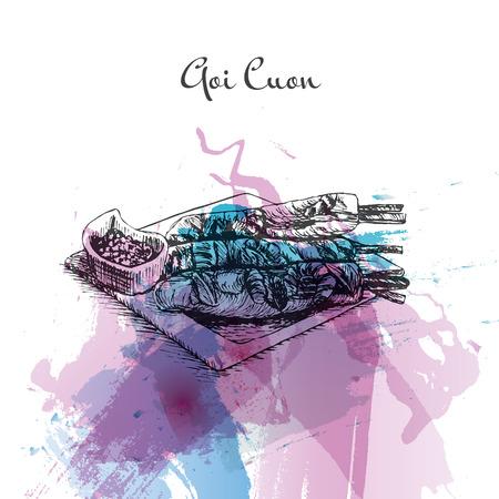 Goi Cuon watercolor effect illustration. Vector illustration of Vietnamese cuisine. Illustration