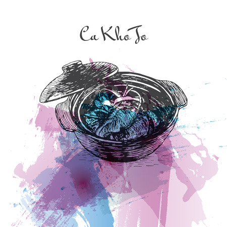 Ca Kho To watercolor effect illustration. Vector illustration of Vietnamese cuisine.