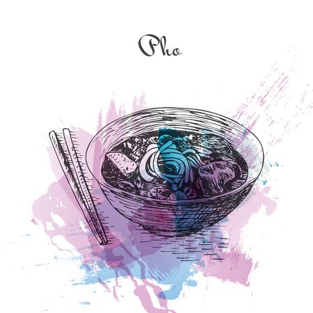 Pho watercolor effect illustration. Vector illustration of Vietnamese cuisine.