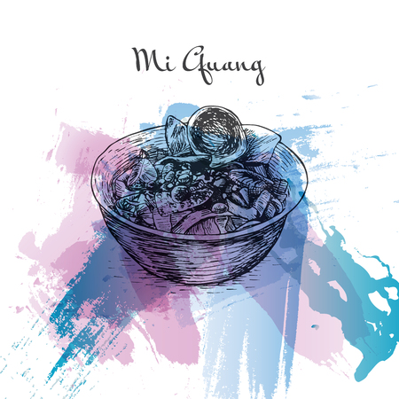 que: Mi Quang watercolor effect illustration. Vector illustration of Vietnamese cuisine.