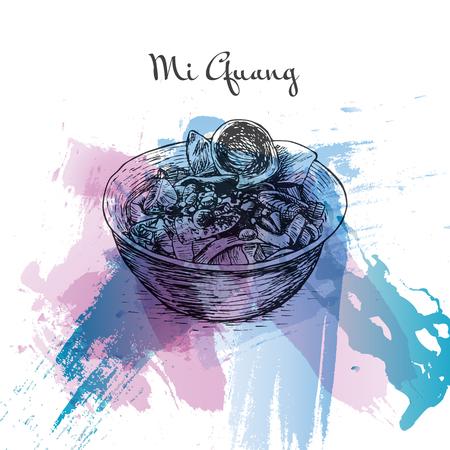 favorite soup: Mi Quang watercolor effect illustration. Vector illustration of Vietnamese cuisine.