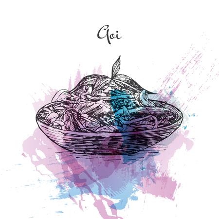Goi watercolor effect illustration. Vector illustration of Vietnamese cuisine.