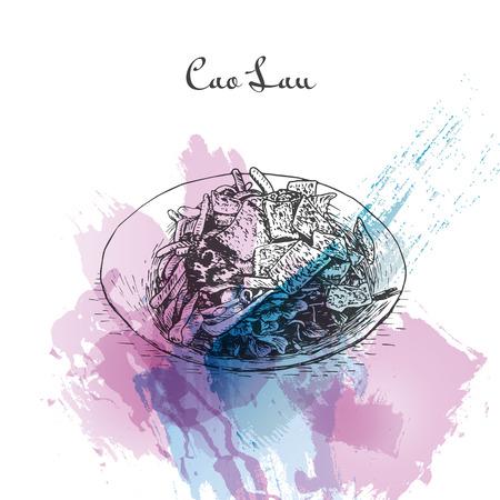 cao: Cao Lau watercolor effect illustration. Vector illustration of Vietnamese cuisine.