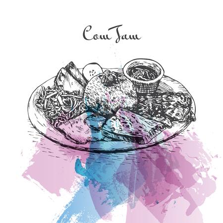Com Tam watercolor effect illustration. Vector illustration of Vietnamese cuisine.