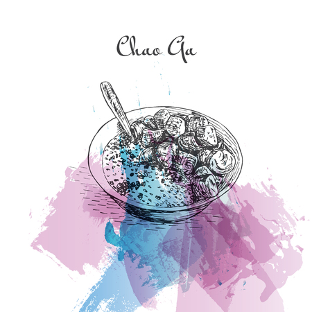 favorite soup: Chao Ga watercolor effect illustration. Vector illustration of Vietnamese cuisine. Illustration