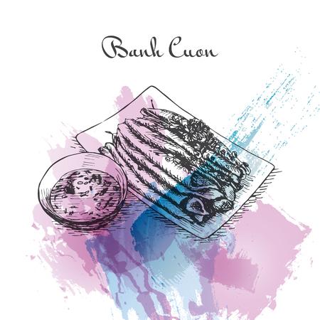 Banh Cuon watercolor effect illustration. Vector illustration of Vietnamese cuisine. Illustration