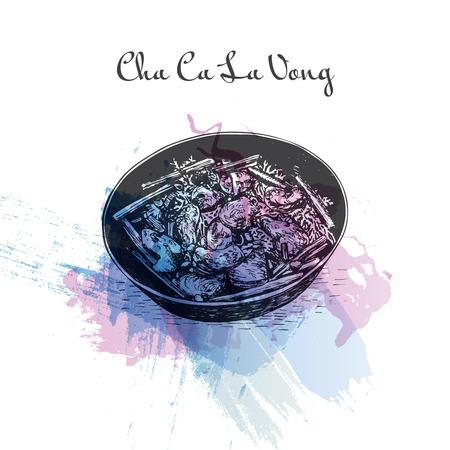 ca: Cha Ca La Vong watercolor effect illustration. Vector illustration of Vietnamese cuisine.