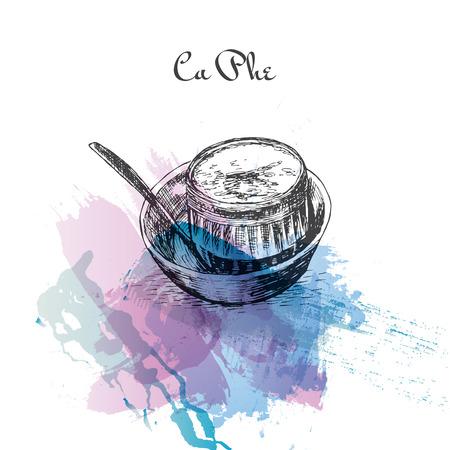 ca: Ca Phe watercolor effect illustration. Vector illustration of Vietnamese cuisine. Illustration