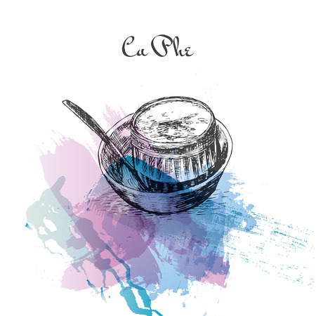 Ca Phe watercolor effect illustration. Vector illustration of Vietnamese cuisine. Illustration