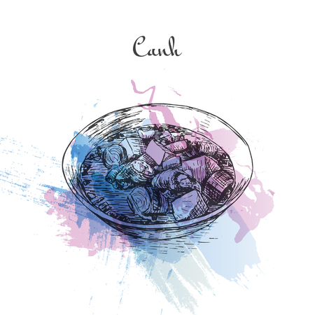 Canh watercolor effect illustration. Vector illustration of Vietnamese cuisine. Ilustração